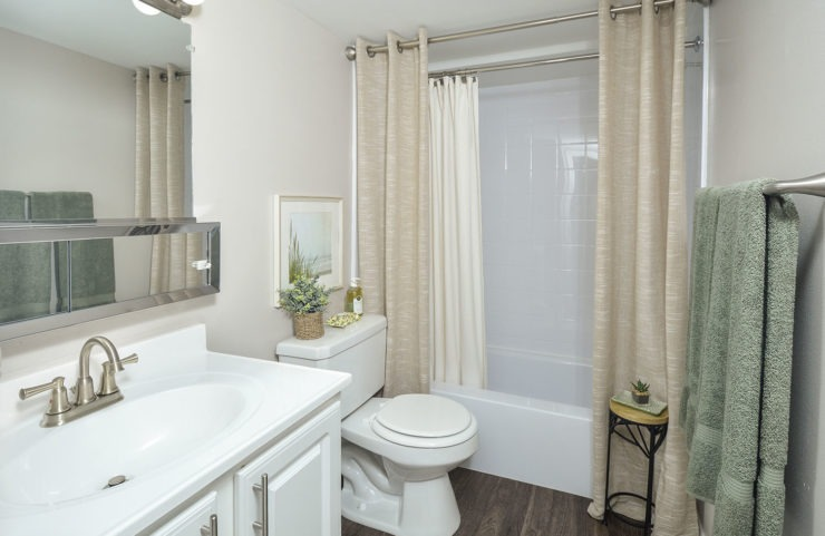 bathroom with white vanity