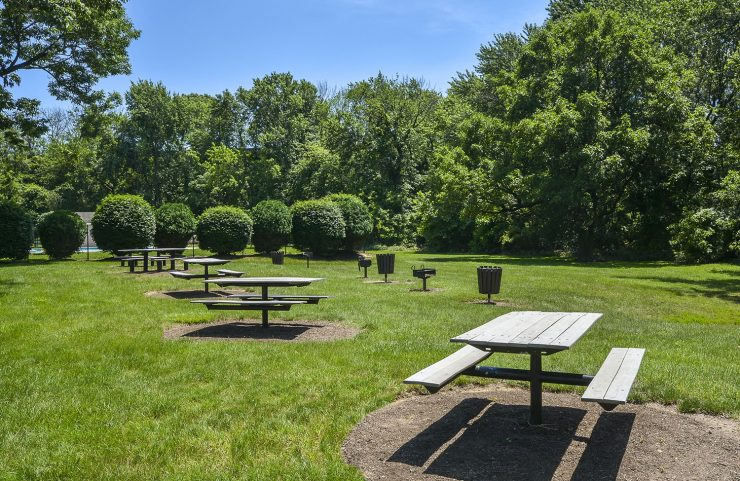 Picnic Area with picnic tables and grills