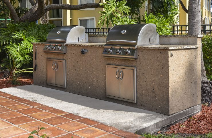 stainless steal gas grilling area