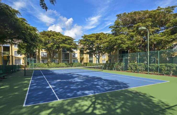 shaded tennis court