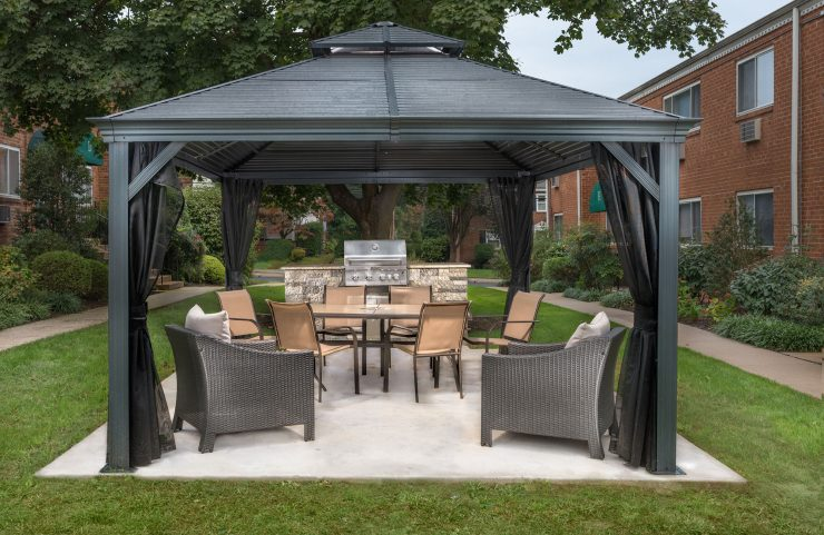 black canopy covering outdoor kitchen