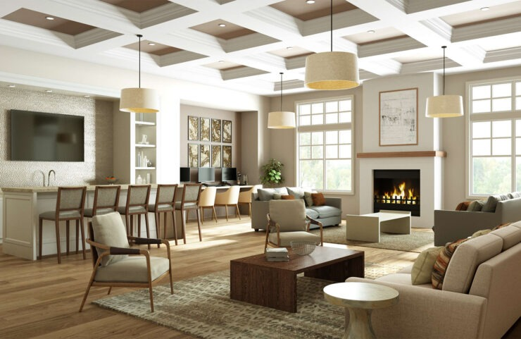 rendering of the future clubhouse with fireplace, TV and seating
