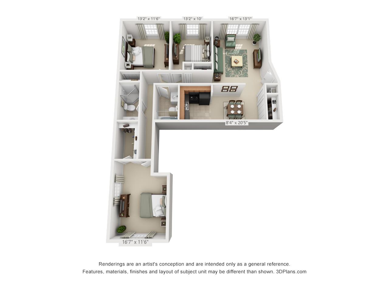 3 bedroom apartments in hatfield