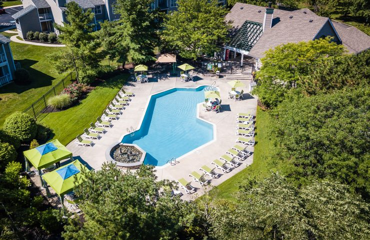 aerial view of saltwater pool surrounded by lush trees