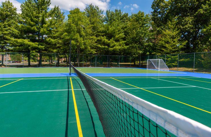 tennis court and badminton court