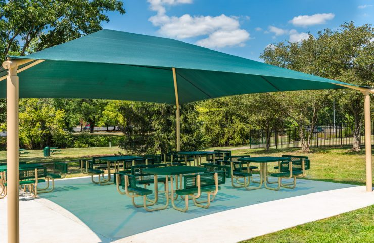 shaded picnic area with plenty of seating