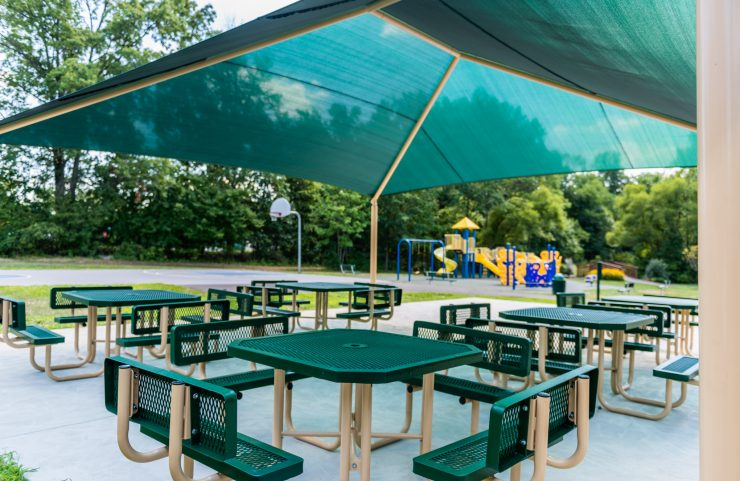 covered picnic area with benches and tables