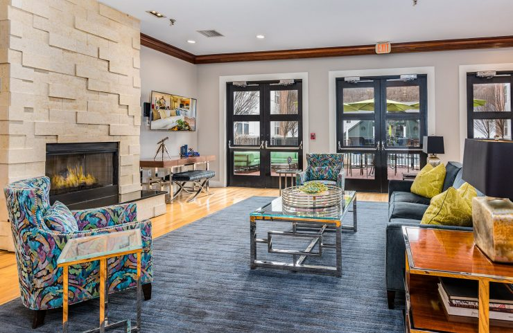 spacious modern clubhouse with ample seating