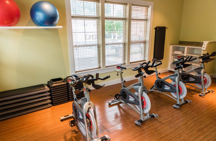 gorgeous wooden floors in the fitness center