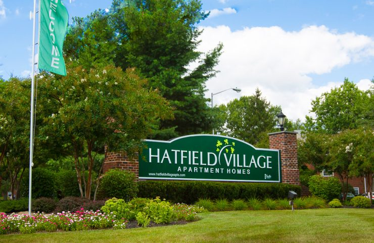 large green hatfield village sign