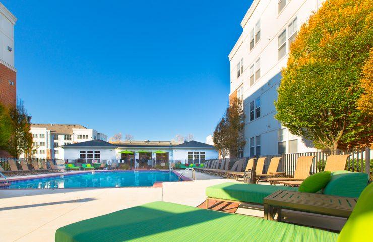 sun deck with pool furniture