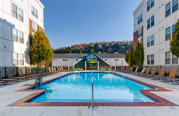 outdoor swimming pool with sun deck