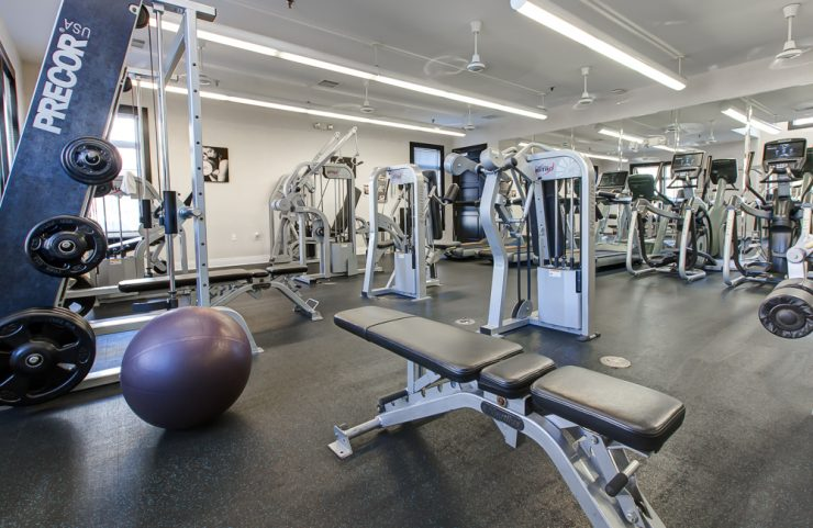 gym with free weights and strength training
