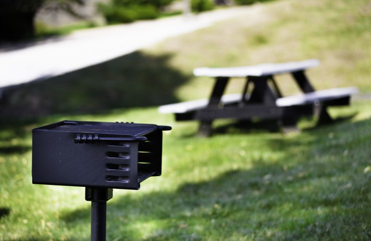 charcoal grill with picnic tables