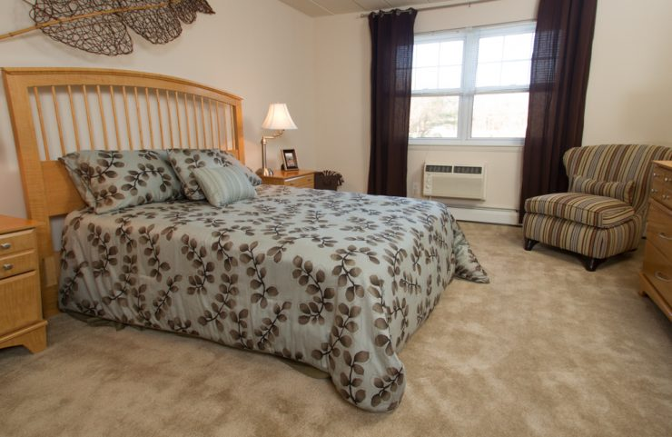 large bedroom with carpeting