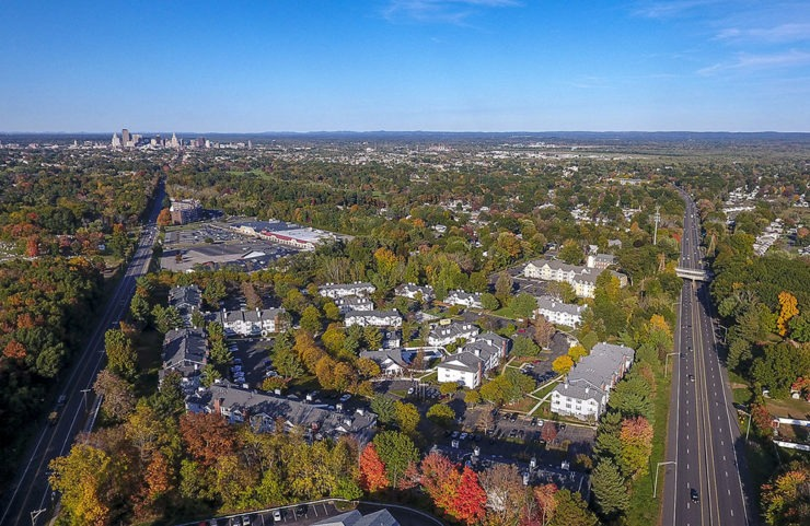 aerial view of the village at wethersfield during fall