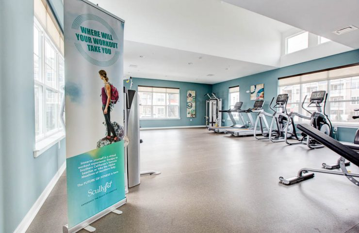 fitness center with virtual interactive cardio equipment