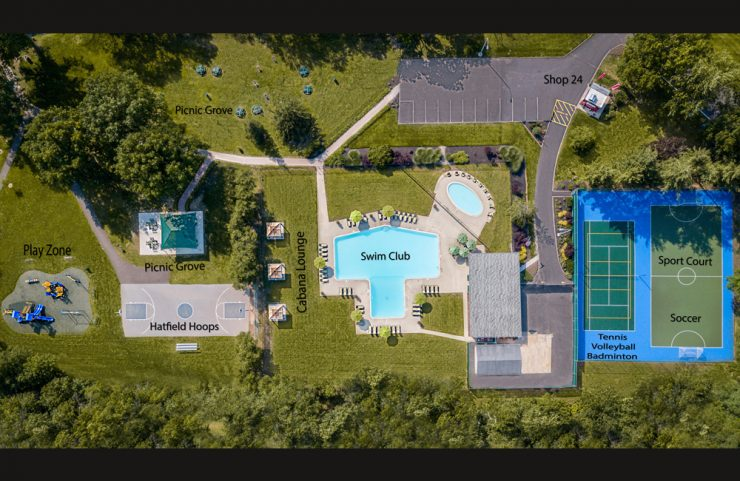 aerial view of all outdoor amenities