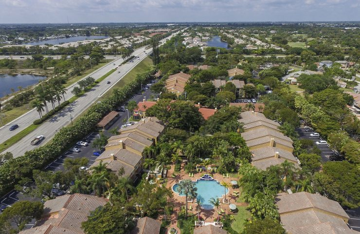 aerial view of Quiet Waters community with pool in the center