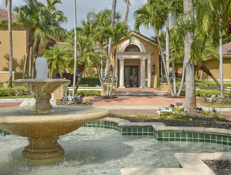 Lush tropical landscaping with elaborate water features