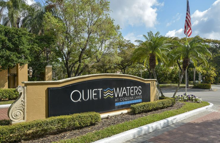 quiet waters sign at the front entrance