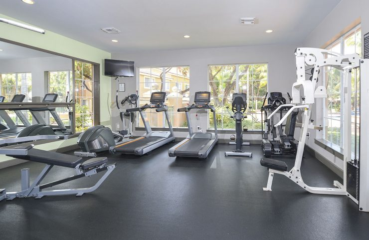 large fitness center with windows for a nice view
