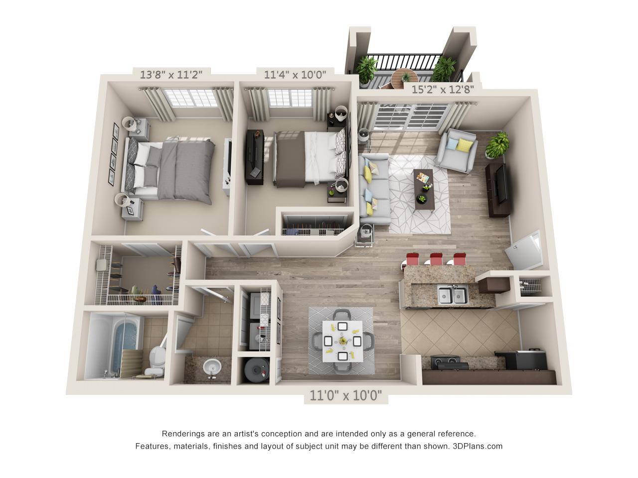2 Bedrooms / 1 Bathroom