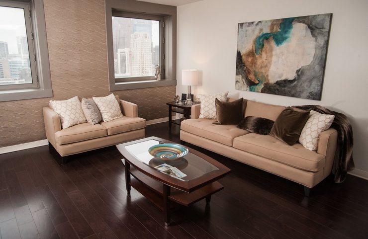 living room with hard wood floors