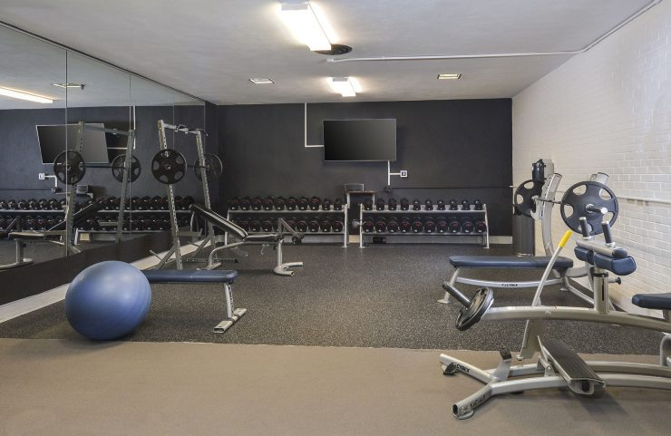 strength training equipment with full mirrors