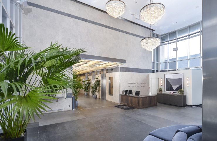 renovated modern lobby with concierge desk