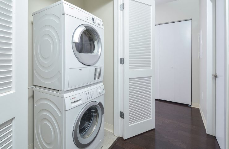 stackable washer and dryer in each apartment home
