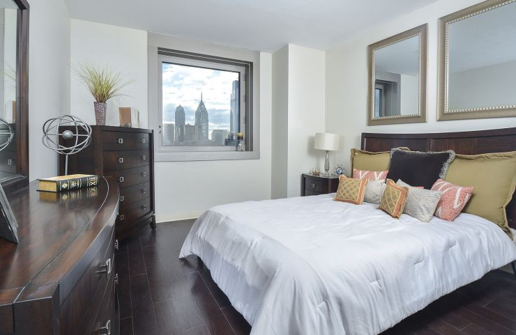 bedroom with a view of center city