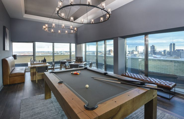 billiards in the resident lounge with more views of the city