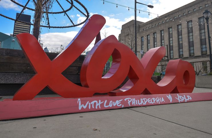 Visit Philly's XOXO Sculpture in front of The Bourse Market