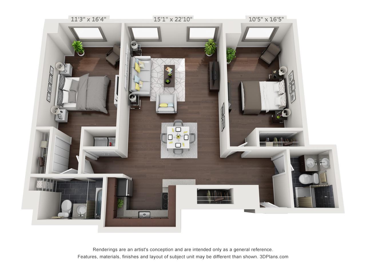 luxury philadelphia apartments - 2 bedroom