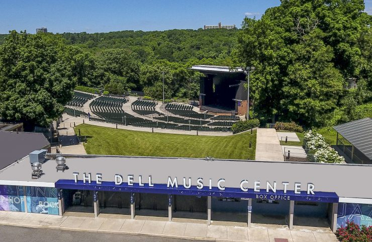 aerial view of The Dell Music Center