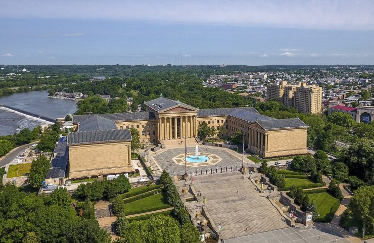 aerial view fo the philadelphia museum of art