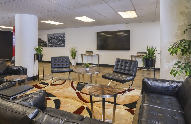 clubhouse sofa and tv area