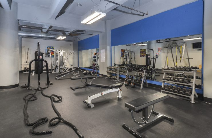 large fitness center stregth training equipment and free weights