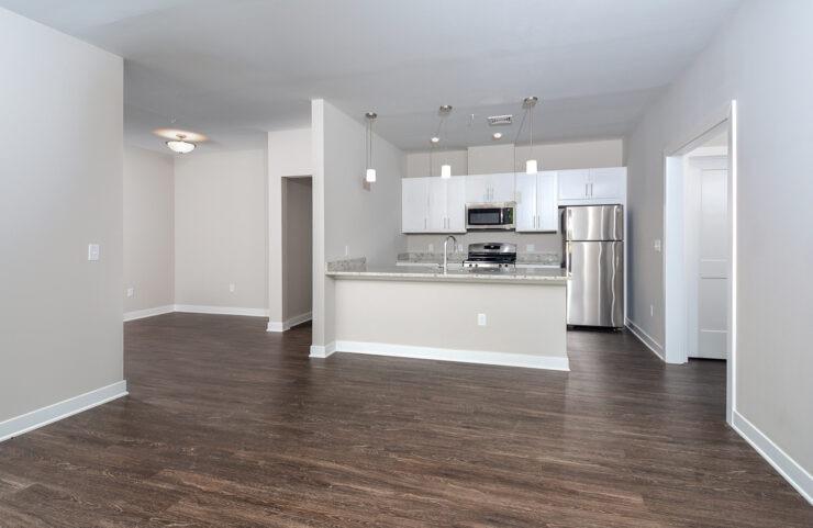 open floorplan with plank flooring