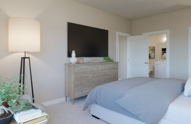 large master bedroom with carpeting