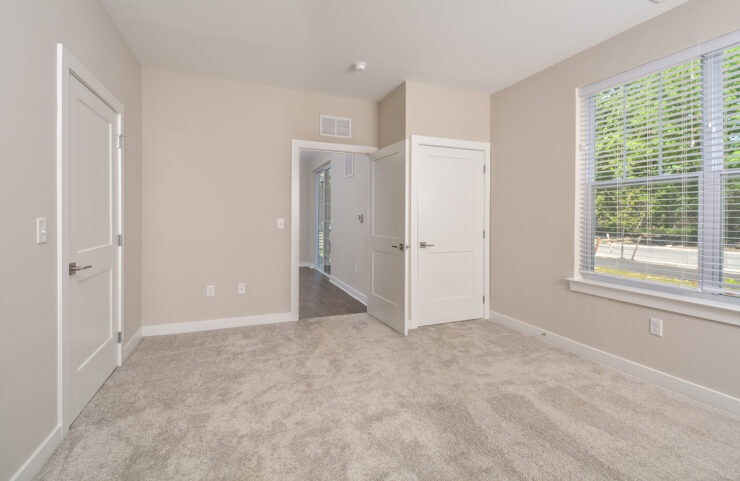 master bedroom with large window and neutral carpet