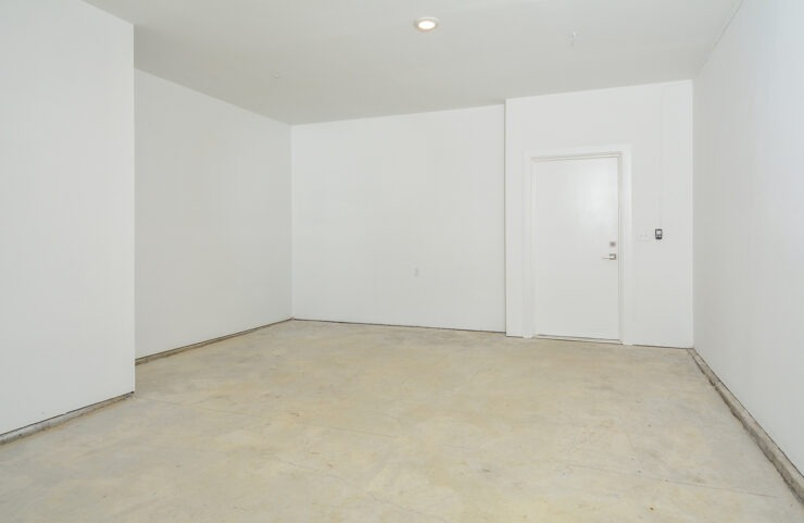 large garage with direct access to apartments