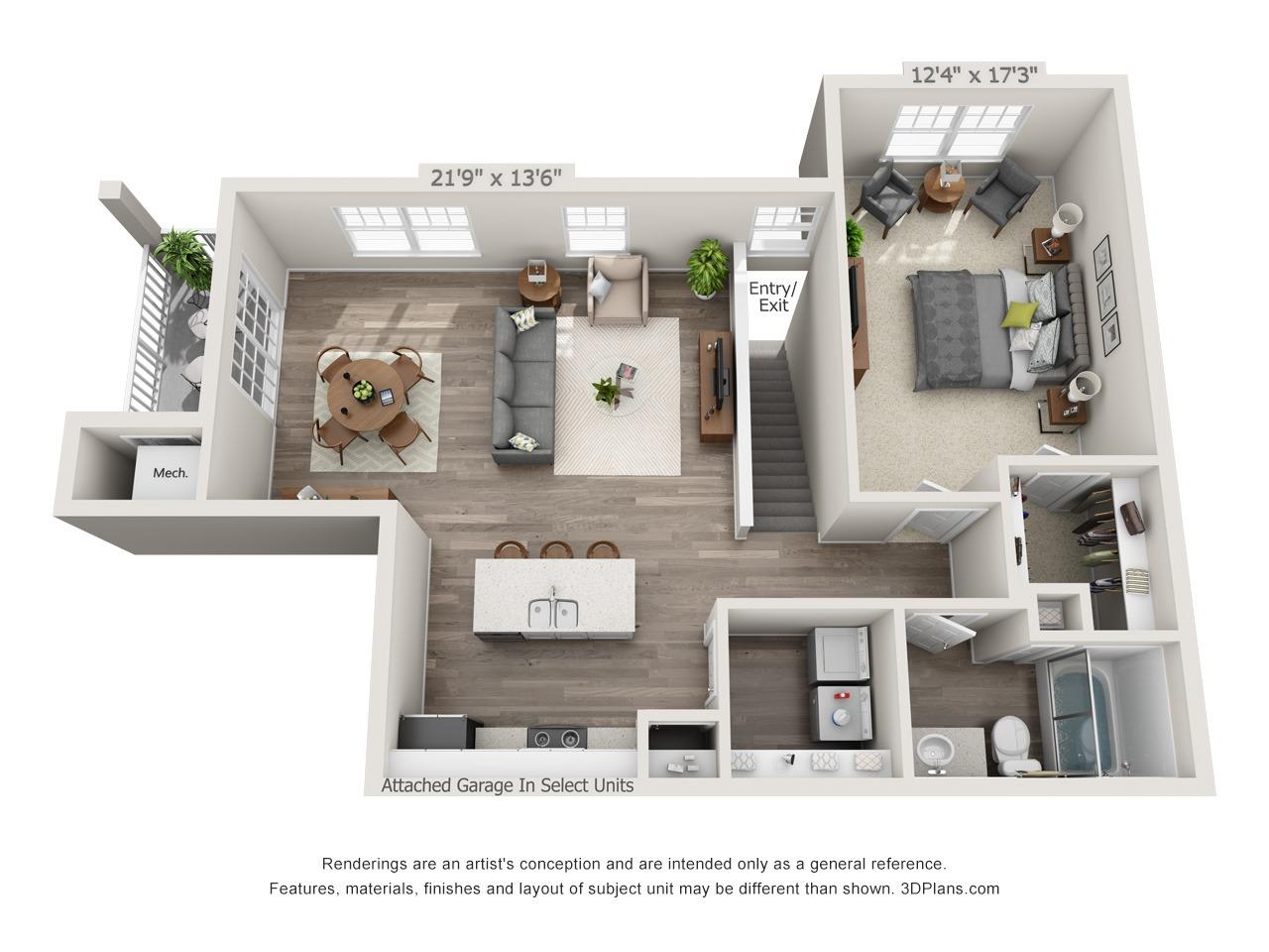 Jade - 1 Bed / 1 Bath with Garage - 2nd Floor - 947 SF