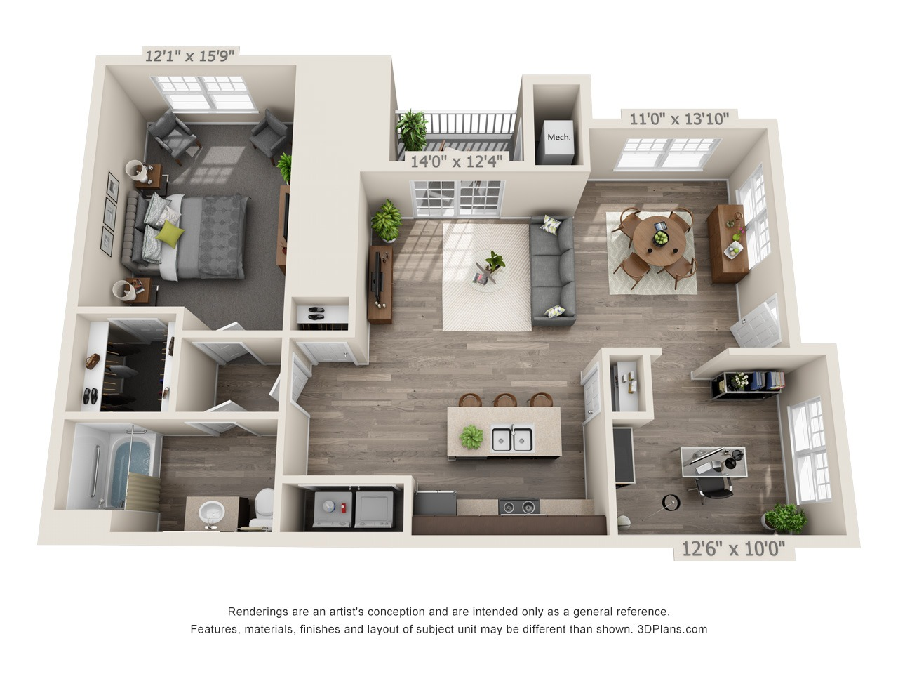 AD - 1 Bed / 1 Bath with Den - 1st Floor - 1,002 SF