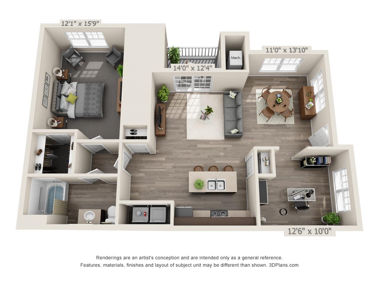 B1 - 1 Bed / 1 Bath and Den - 1st Floor - 1,002 SF