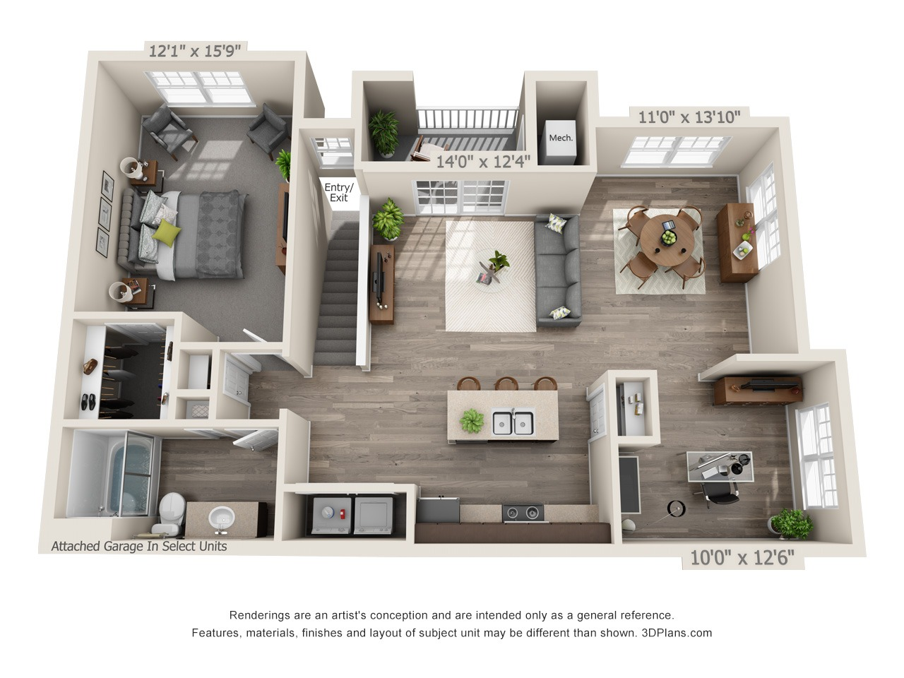 A1M - 1 Bed / 1 Bath with Den - 2nd Floor - 1,073 SF