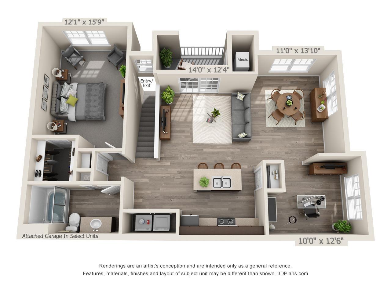 B2 - 1 Bed / 1 Bath and Den - 2nd Floor - 1,073 SF