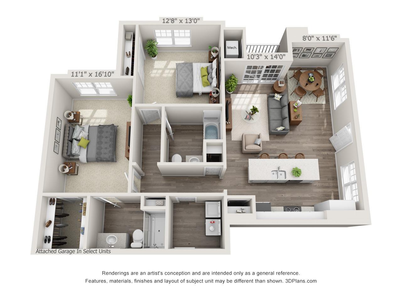 Sage - 2 Bed / 2 Bath with Garage - 1st Floor - 1,201 SF