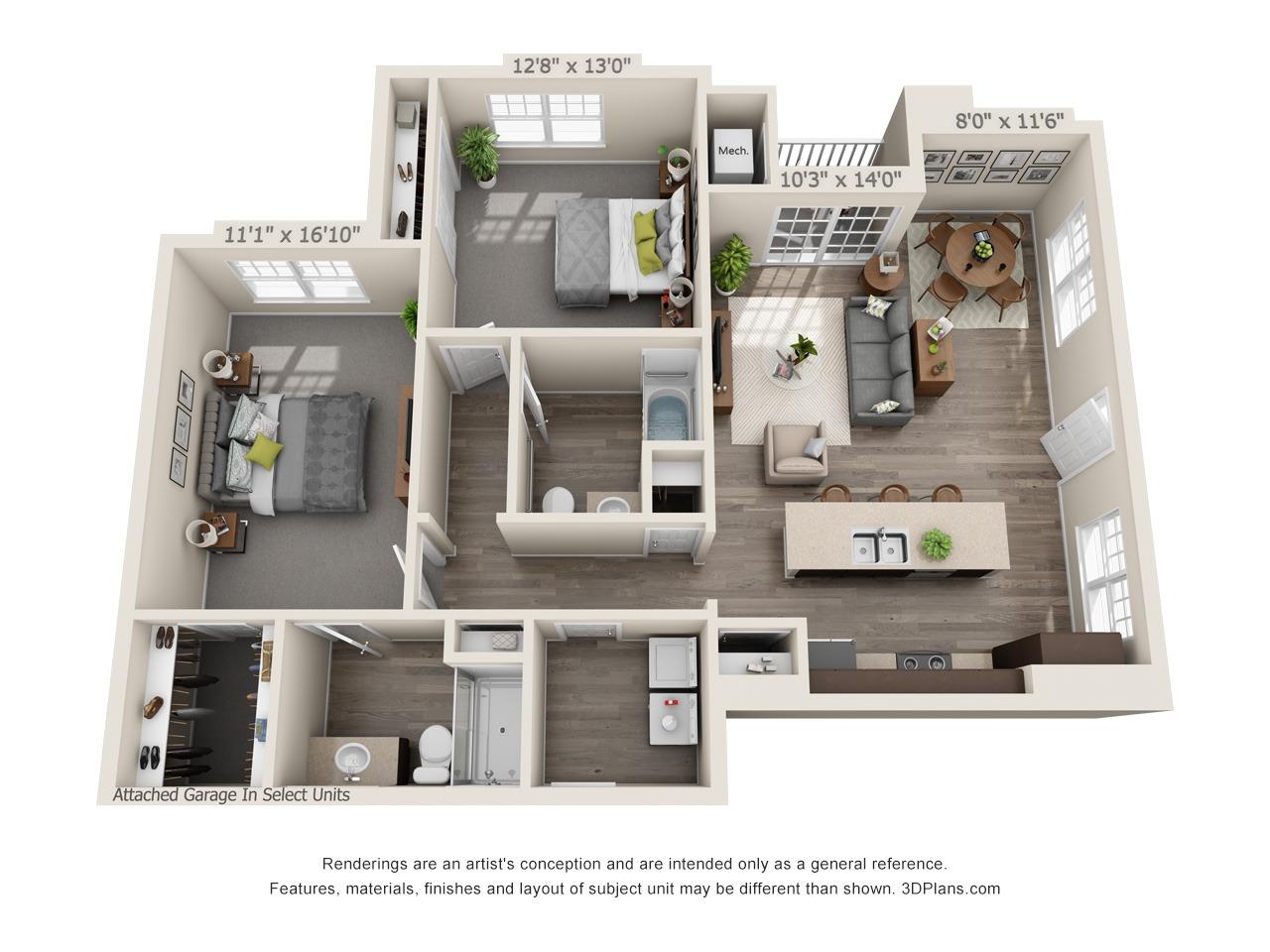 C1 - 2 Bed / 2 Bath - 1st Floor - 1,201 SF